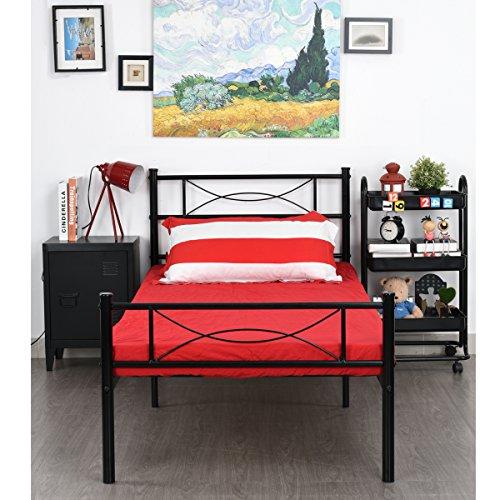 SimLife Metal Bed Frame Twin Size 6 Legs Two Headboards Mattress Foundation...