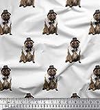 Soimoi Weiß Poly Georgette Stoff Bogen, Hut & Mops Hund