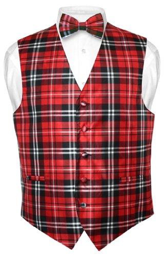 Men's Plaid Design Dress Vest & Bowtie Black Red White Bow Tie Set sz 3XL
