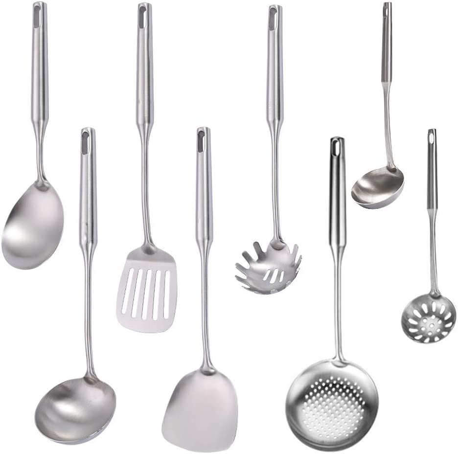 Super Direct stock discount Leader Stainless OFFicial store Steel Kitchen Set Cooking 8PCS Utensil -