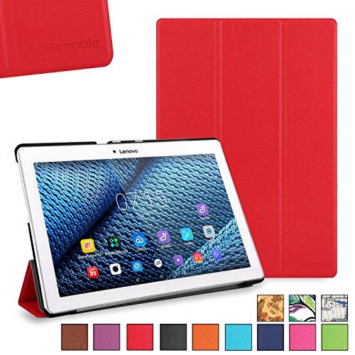 BeePole Lenovo Tab 2 A10-30/A10-70F Custodia - Custodia Protettiva Tri-Folder per Lenovo Tab 2 A10-30 / A10-30F / A10-70 / A10-70F,con Supporto e Funzione Magnetica Automatica Wake/Sleep,Rosso