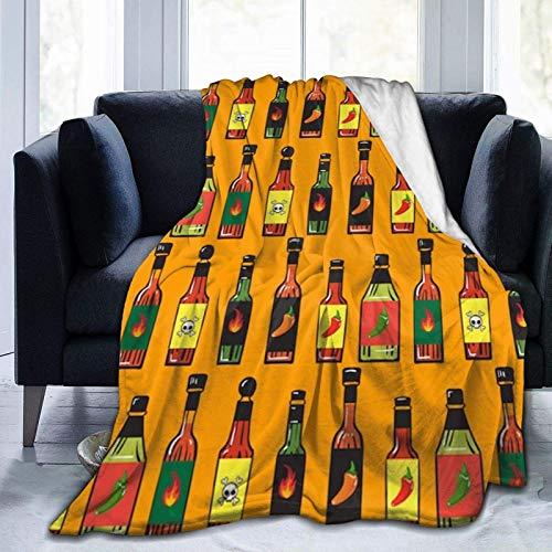 Selamat Bottiglie di Salsa Piccante Coperta in Micro Pile Ultra-Morbida Coperta per Tutte Le Stagioni Coperte sfocate per Ufficio Divano da casa Divano Letto