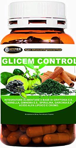GLICEM CONTROL con Griffonia Canela Gymnema Espirulina Garcinia Ácido alfa lipoico Cromo Nivel de Glicemia Metabolismo