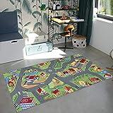 Carpet Studio Spielteppich Kinderzimmer 95x200cm, Straßenteppich für Junge und Mädchen, Rutschfester Rücken, praktische Reinigung, Spielfreundlich - Little Village