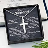 To My Boyfriend Cross Necklace, Gift For Boyfriend, Cross Necklace, Gift From Girlfriend, White Gold Cross Necklace, Valentine's Day Gift | Xh7vo-231