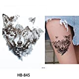 Hombres Tattoo Lobo Negro Arm Tattoo adhesivo Fake Tattoo hb845