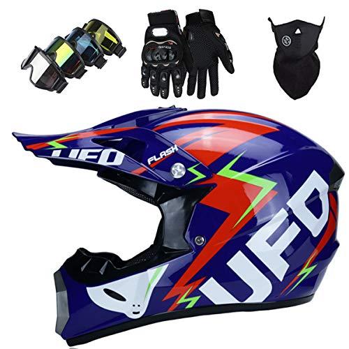 LCRAKON Casco Moto Niño, MJH-01 Cascos de Motocross de Moto,Enduro,Descenso,Full Face para Hombre, Casco de Carreras Dot Aprobado,Casco Motocross Infantil - UFO Azul Brillante