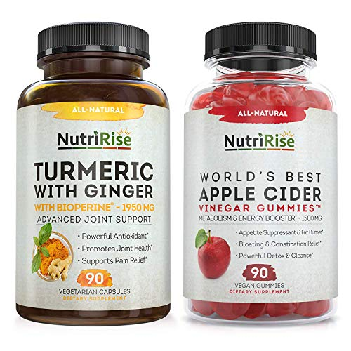 Apple Cider Vinegar Gummies + Turmeric with Ginger Caps: Powerful Combo for Metabolic Support, Digestive Health, Energy, Weight Loss, Detox & Cleanse. Vitamins B6-B12, Beet & Pomegranate Juice, Vegan
