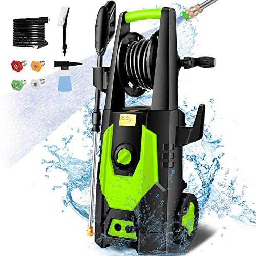 mrliance 3600PSI Electric Pressure Washer 2.4GPM Power Washer 1800W High Pressure Washer Cleaner Machine with 4 Interchangeable Nozzle & Hose Reel, Best for Cleaning Patio, Garden,Yard,Vehicle(Green)