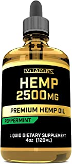 iVitamins Hemp Oil for Pain Anxiety Relief :: 2500mg 4oz :: May Help with Stress, Pain, Anxiety, Sleep, Depression, Headaches + More :: Hemp Extract :: Rich in Omega 3,6,9 :: (Peppermint Flavor)