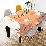 Happy Cats Family Love Togther Cotone Lino Stampato Tovagliolo Quadrato Resistente Biancheria da tavola Tovaglia con Copertina per la Cucina Casa Sala da Pranzo Tovagliolo Decor 60 X 84 Pollici