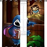 """Aotuma Stitch Lilo TV serie animazione fumetti tende oscuranti per camera da letto e soggiorno isolamento termico per camera da letto dei ragazzi, Poliestere, Multi, 2 panel(36""""W x 96""""L W92cmxL245cm)"""