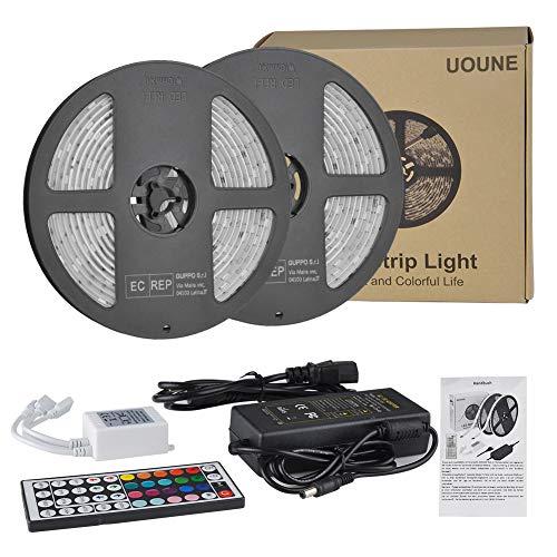 RGB LED Lichtband Streifen 10M 5050 300leds LED Flexibel Stripes UOUNE LED Bänder Lichterkette Wasserdicht IP65 Memory Funktionmit 44 Tasten Fernbedienung für Decke Bar Theke Schrank Beleuchtung Innen