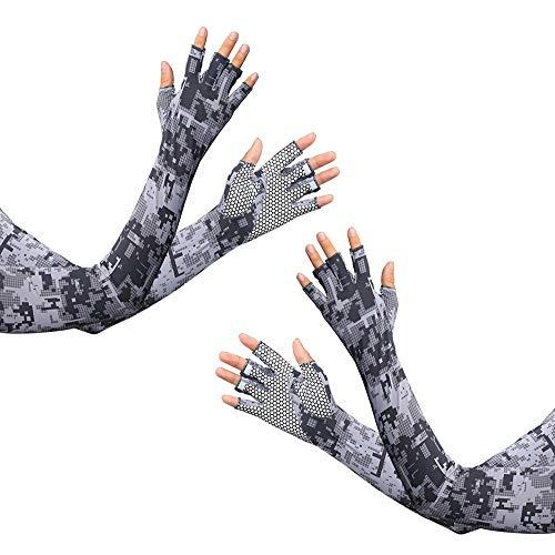 HODORPOWER UV-Schutzhandschuhe für Damen und Herren, zum Radfahren, Eisarm-Ärmel, fingerlos, Sonne, Kompression, lange Armabdeckung - - Einheitsgröße