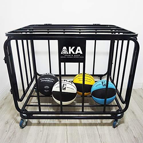 AKA Spors Ball Equpment Cart   Ball Storage for Soccer, Volleyball, Football   Ball Organizer   Ball Rack with Wheels   Capacity Over 25 Balls