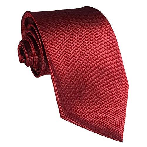 GASSANI Krawatte 10cm Breite Wein-Rot Karo Kariert | Herrenkrawatte Bordeaux zum Sakko Anzug Seide-Optik | Schlips Binder einfarbig