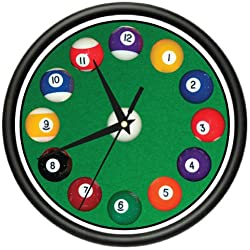 SignMission Pool Balls Wall Clock Hall Billiards Game Room cue, Beagle