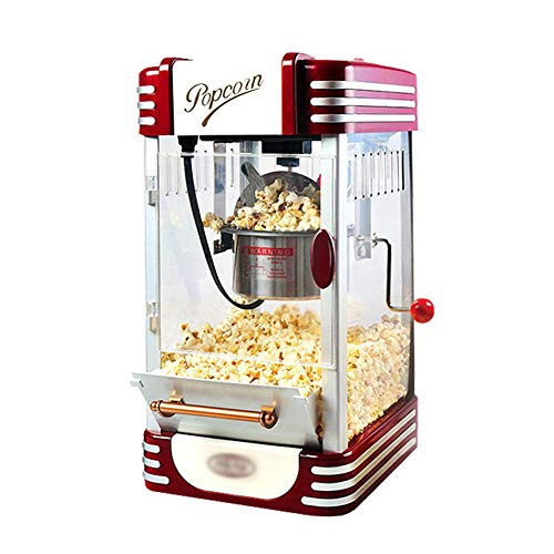 JDH Household Popcorn Maker, Retro Gourmet Popcorn Maker with Integrated Stirrer Stainless Steel Cauldron, for Movie Nights Kids Parties Healthy Home Made Treats