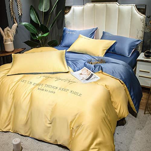Funda nórdica Funda de colcha 150 cm,Juego de cuatro piezas de seda europea de verano, seda de hielo de doble cara fresco, seda, cama satinado cama individual, transpirable suave suave y cómodo famil