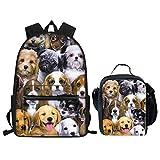 Cool Dog Mochila escolar primaria con soporte para botellas, bolsa para libros para niños y niñas con bolsa de almuerzo