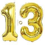 Huture 2 Luftballons Zahl 13 Figuren Aufblasbar Helium Folienballon Große Folienmylar Ballons Riesen Gold Ballons 40 Zoll Luftballons Zahl für Geburtstag Party Dekoration Abschlussball XXL 100cm
