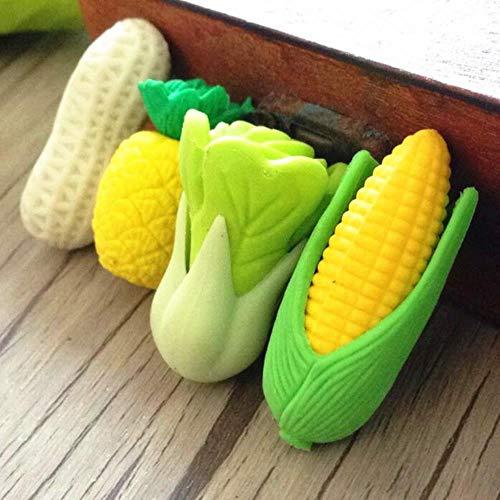 THREE 4 teile/los frisches gemüse obst design ungiftig radiergummi kawaii schüler geschenk preis kinder lernen spielzeug büro schulbedarf, gemischte designs
