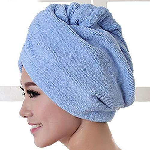 YASEking 1 toalla de pelo turbante de microfibra de secado rápido, tela de fibra superfina, accesorios de baño sólidos envueltos para el pelo (color: azul cielo)