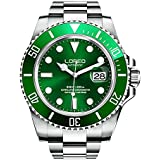 LOREO Mens Silver Stainless Steel Sapphire Glass Black Rotating Bezel Men's Automatic Watch (Green/Silver Stainless Steel Band)