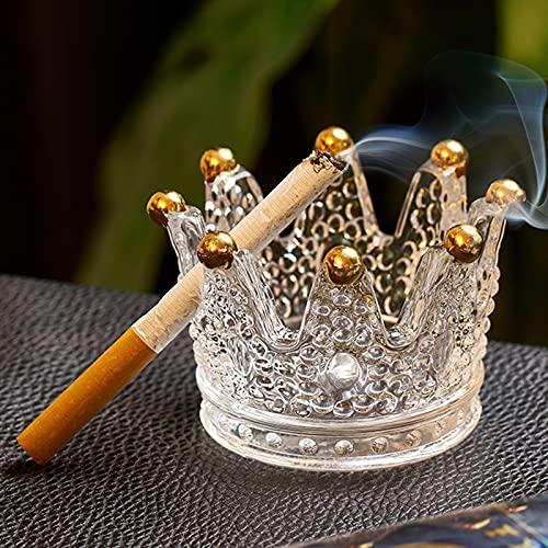 Cenicero de cristal con forma de corona, cenicero de mesa para cigarrillos, cenicero, se puede utilizar como portavelas de té, decoración del hogar