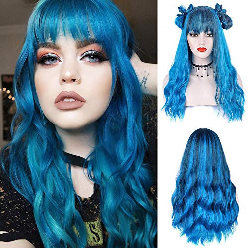 ENTRANCED STYLES Blue Wig with Bangs Long Wavy Blue Wig with Air Bangs Synthetic Wigs for Women Curly Wigs for Daily Party Cosplay 24 inch