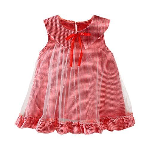 LEXUPE Kleinkind Kind Baby Mädchen Tüll Plaid Gedruckt Party Prinzessin Kleid Kleidung Outfits(E-Rot,XX-Large)