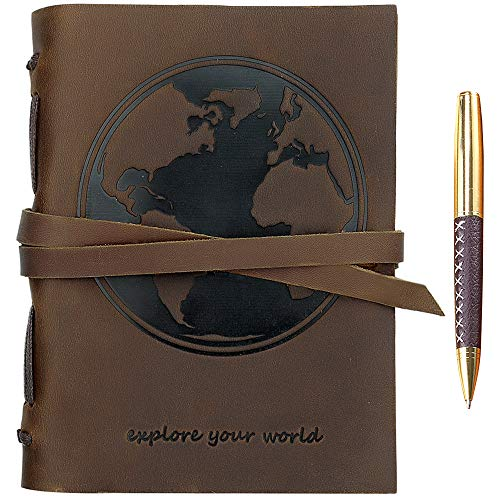 Leather Journal World Map Notebook Embossed Handmade Travel Diary, A5 Vintage Writing Bound Journal For Men & For Women Genuine Antique Rustic Leather 6'x8' Engraved Perfect for Notes Sketchbook + Pen