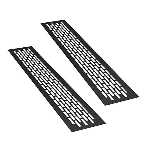 sossai® Aluminium Lüftungsgitter - Alucratis (2 Stück) | Rechteckig - Maße: 48 x 8 cm | Farbe: Schwarz | pulverbeschichtet