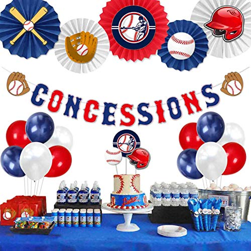 Party Inspo Baseball Birthday Party Decorations Supplies Kit, Baseball Concessions Birthday Banner, Cake Toppers, Baseball Themed Balloons, Pom Poms, Paper Fans for Baseball Sports Theme Party Decorations Supplies