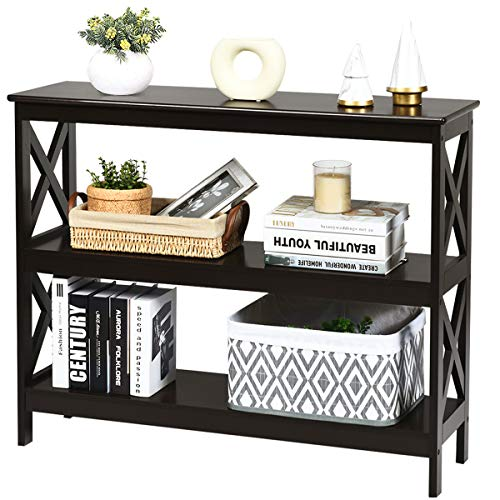 Giantex Console Table with Storage Shelves and X-Shape-Design Bookshelf Narrow Accent Table for Entryway, Hallway, Living Room 3-Tier Sofa Side Table (Espresso)