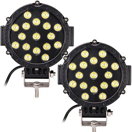 PoJu FUSKANG 2Pcs 51W Lumière de travail de LED, rond Lumières d'ingénierie imperméables Feuilles de brouillard Lumières de brouillard Noir Lumière rouge de point jaune Lumière d'inondation