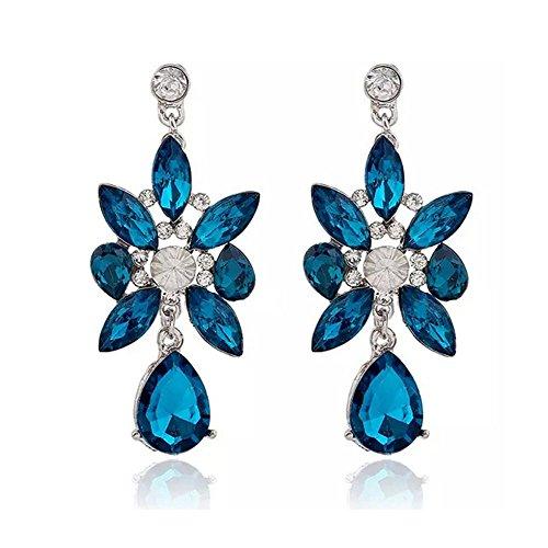SADASD arete gota para el oído Europeos y Americanos de Joyería de pendientes Colgantes de cristal azul zafiro oreja caída de piedras Joyería oreja de uñas