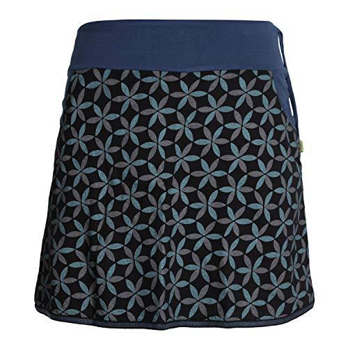 Vishes - Alternative Bekleidung - Damen Baumwoll-Rock, 70er Jahre Retro Facetten, Blumen-Druck, Taschen schwarz 44