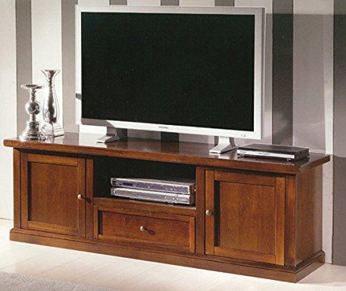 InHouse srls Mobile Porta TV, Arte povera, in Legno massello e MDF con rifinitura in Noce Lucido - Mis. 45 x 160 x 56