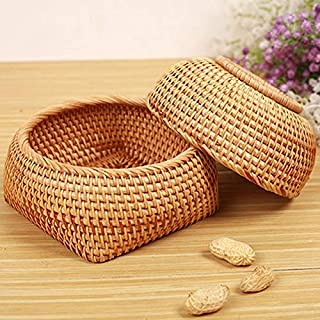 YVCHEN Rattan Fruit And Vegetable Storage Hand-Woven Storage Basket Bread Basket Snack Gift Basket Dry Small Basket Storag...