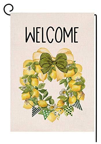 Guirnalda de limón de verano con bandera de jardín vertical de doble cara para casa de campo de bienvenida arco de arpillera, decoración al aire libre, 12,5 x 18 pulgadas A217