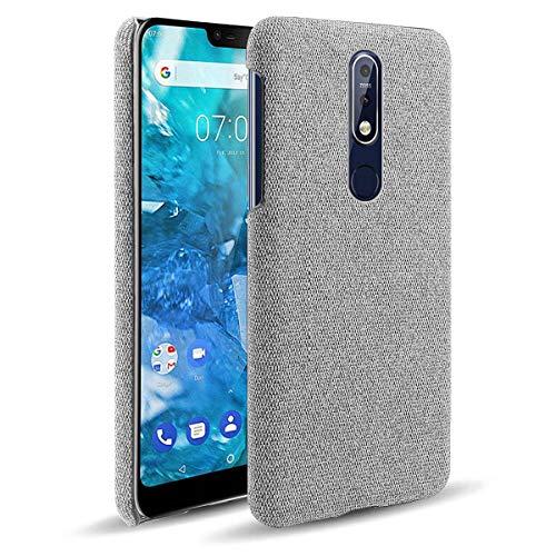 YINCANG Capa Nokia 7.1,Capa à Prova de Choque Capa de TPU Macio e Tela de Alta Qualidade Para Smartphone Capa Para Celular Nokia 7.1 -Cinza Claro