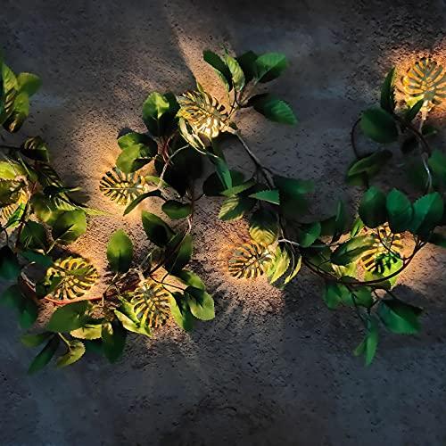 Aimili Guirnalda de luces LED con hojas doradas, de hierro forjado, decorativa, 1,65 m, 10 luces, tipo de batería, siempre brillante