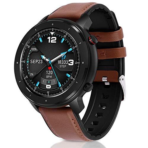 Fullmosa Smartwatch Herren Damen, Fitnessuhr für Android IOS, 1.3 Zoll Touchscreen Fitness Tracker mit Schrittzähler, IP68 Wasserdicht Rund Sportuhr mit Pulsuhren
