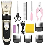 OurWarm Dog Grooming Kit, Low Noise Dog Cat Rabbit Hair Clippers, Rechargeable Dog Trimmer Cordless Professional Pet Hair Trimmer with Comb Guides for Dogs Cats Rabbit and Other Pets Animals
