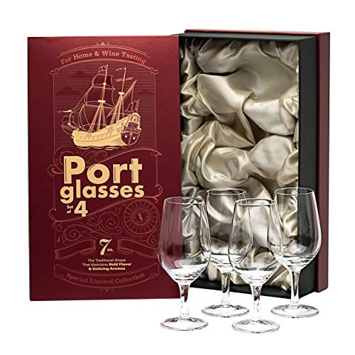 Port and Dessert Wine, Sherry, Cordial, Aperitif Tasting Glasses | Set of 4 Small Crystal 7 oz Sippers | Mini Short Stem Nosing Taster Copitas | After Dinner Drink Glassware