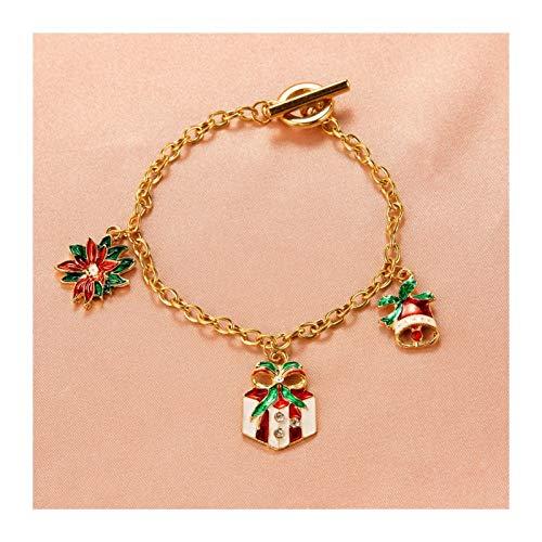 CQHUI Navidad múltiple Rojo Verde muñeco de Nieve Campanas Pendientes de Gota para Mujeres niña árbol de Metal Copo de Nieve Colgar Pendientes de joyería del Partido (Metal Color : 20)
