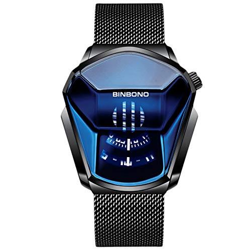 RORIOS Moda Relojes de Hombre Analógico Cuarzo Reloj de Malla Acero Inoxidable Deportivo Relojes de Pulsera Impermeable Casual Relojes Hombre