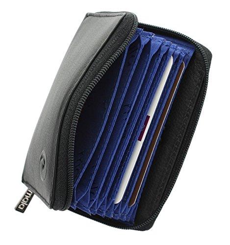 Mala Leather Colección ORIGIN Tarjetero de Crédito Concertina de Cuero con Protección RFID 552_5 Negro