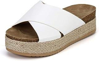 comprar comparacion Mujer Sandalias Plataforma Chanclas Verano Ante Sandalias de Vestir Tacon 6CM Planas Peep Toe Gladiador Playa Aire Libre A...